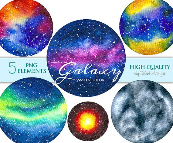 Watercolor planets space nebula. Planet clipart galaxy