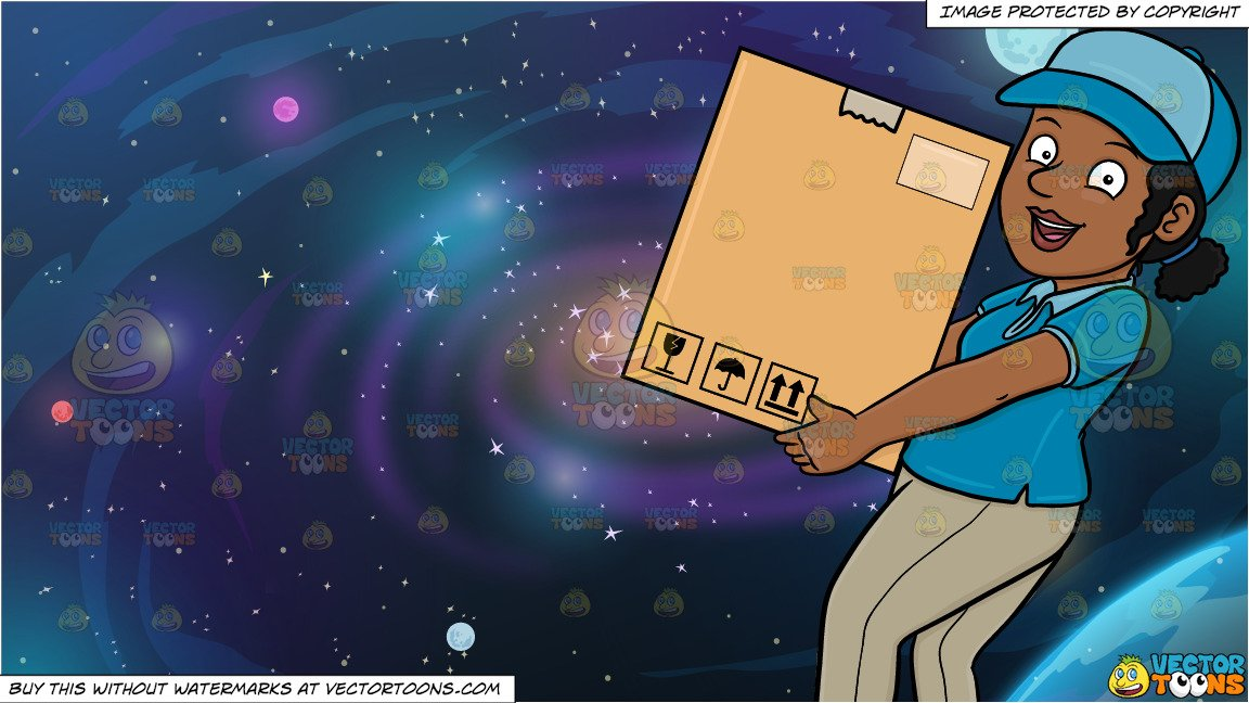 Galaxy clipart large. A black delivery woman
