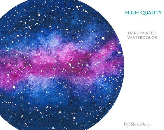 Galaxy clipart nebula. Watercolor planets space