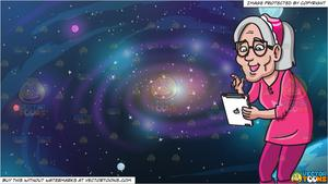 An woman using ipad. Galaxy clipart old