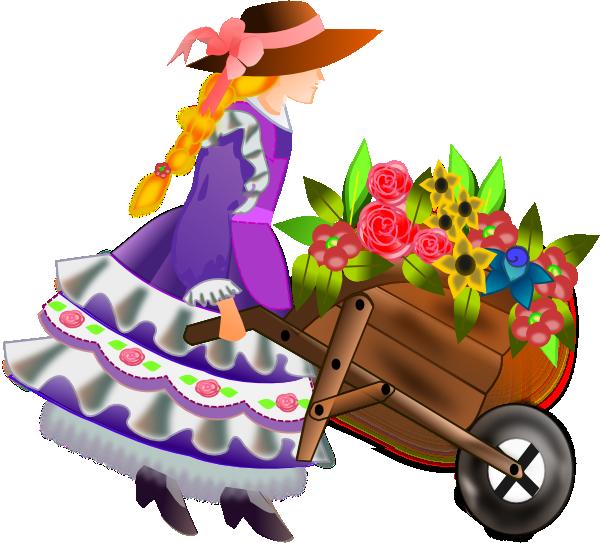 Gardening clipart flower cart. Easter dutch child pinterest