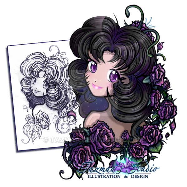 Anime girl by tazmaa. Galaxy clipart purple galaxy