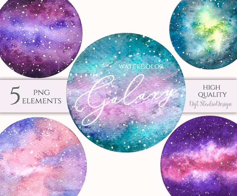 Watercolor planets space nebula. Galaxy clipart purple green