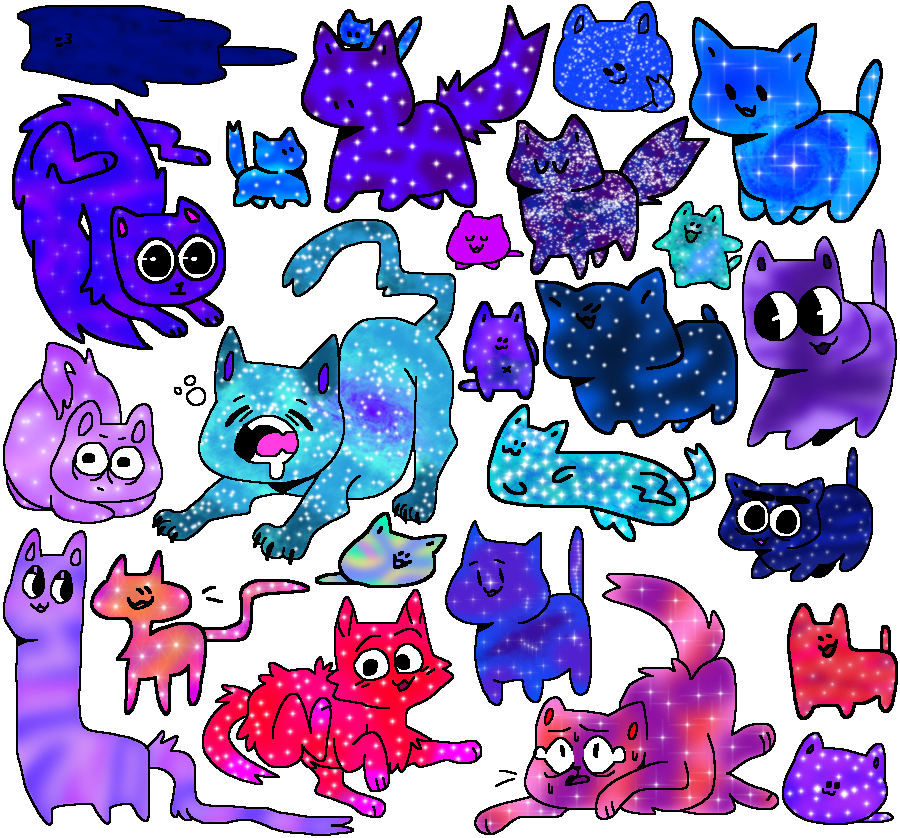 Cat adoptables closed by. Galaxy clipart purple green