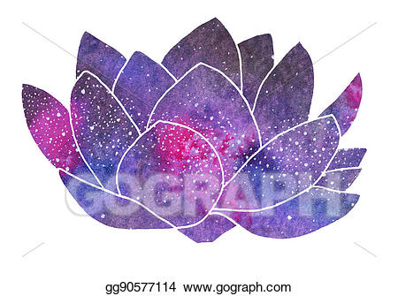Stock illustration lotus hand. Galaxy clipart real