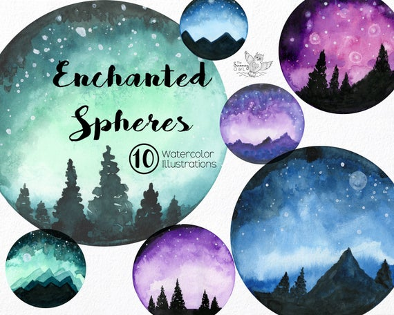 Watercolor background night sky. Galaxy clipart sbc