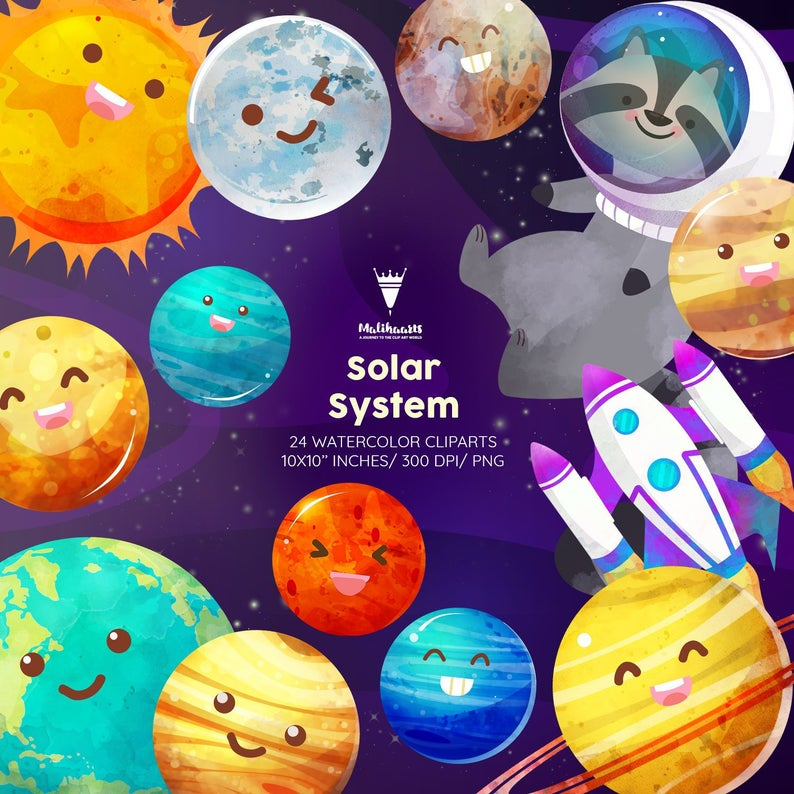 Planets clipart handmade. Space solar system galaxy