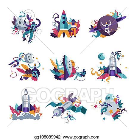 Galaxy clipart space exploration. Vector illustration astronautics and