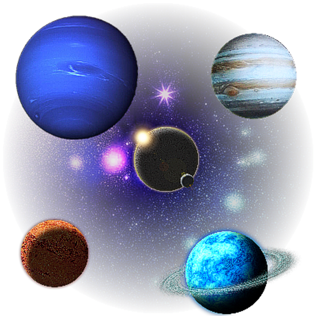 Planet galaxy stars sticker. Planeten clipart collage