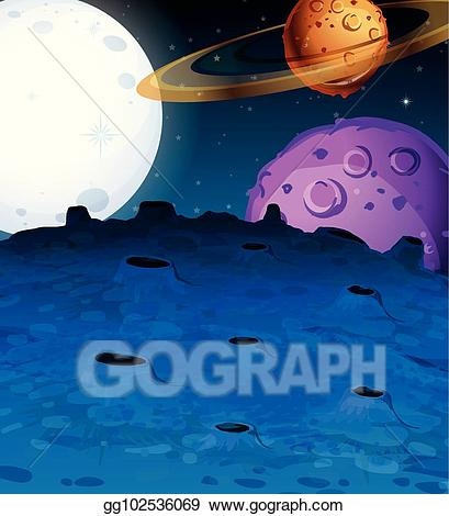 Vector with planets in. Galaxy clipart space scene
