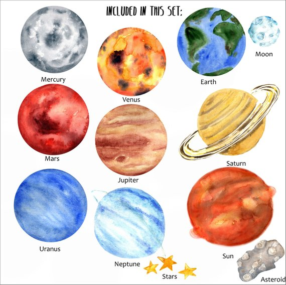 Planets clipart painting. Watercolor clip art solar