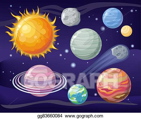 Vector illustration with planet. Galaxy clipart space scientist