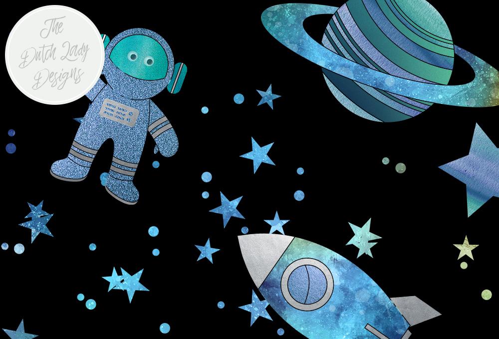 Set cute astronaut rocket. Galaxy clipart space
