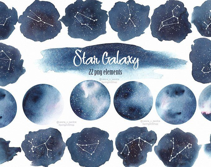 Galaxy clipart stary night. Celestial starry sky watercolor