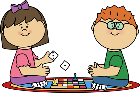 Kids playing board games. Game clipart