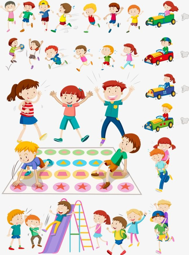 Vector kids playing games. Game clipart child game