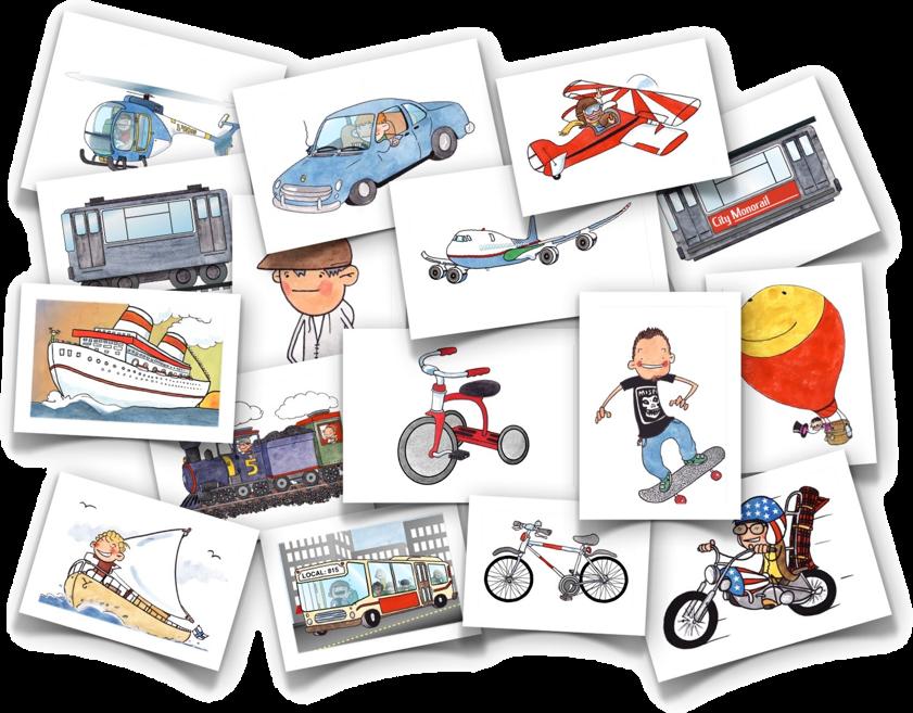 Vehicles flash cards transports. Language clipart preschool