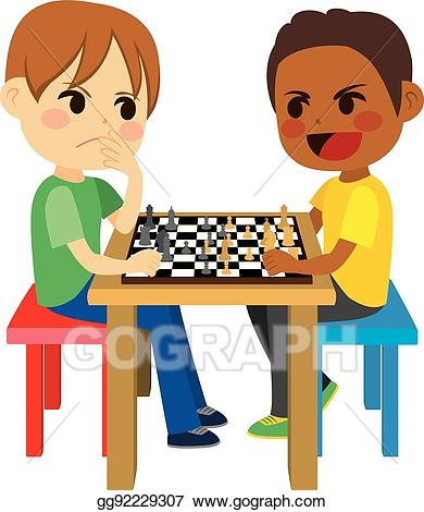 Vector kids playing chess. Games clipart two