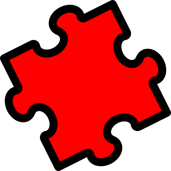Red piece clip art. Puzzle clipart puzzle game