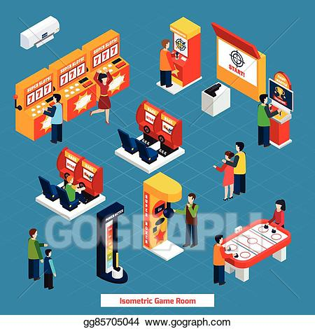 Eps vector isometric poster. Game clipart game room