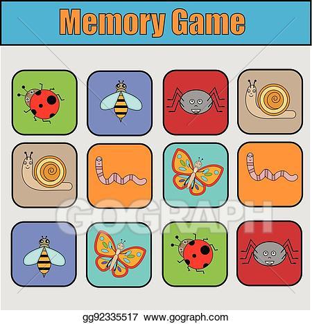 Vector stock educational children. Game clipart memory game