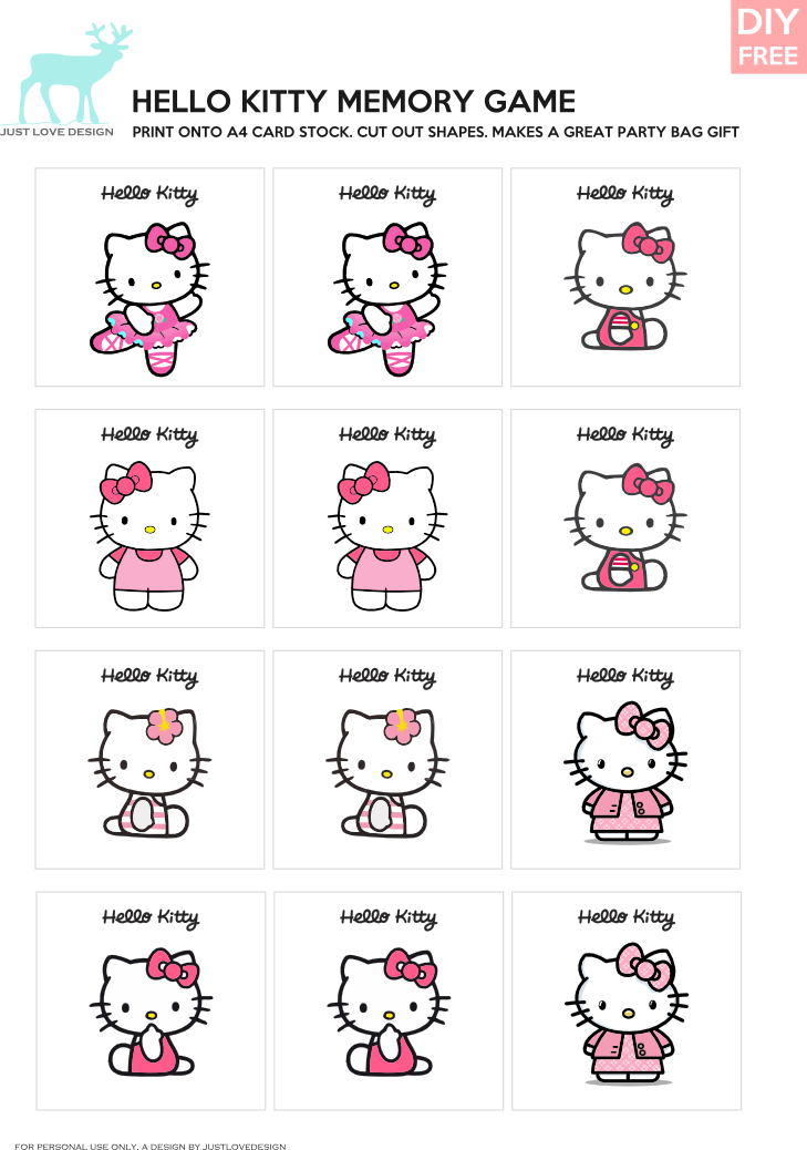 Gaming clipart memory game. Diy free hello kitty