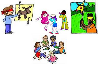 Pencil and in color. Games clipart party game