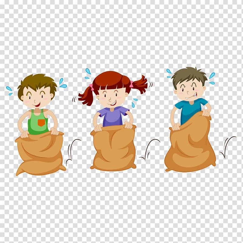 Three kids in sack. Race clipart children's