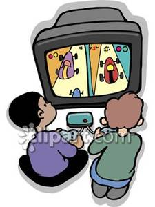 Boys playing a video. Gaming clipart two