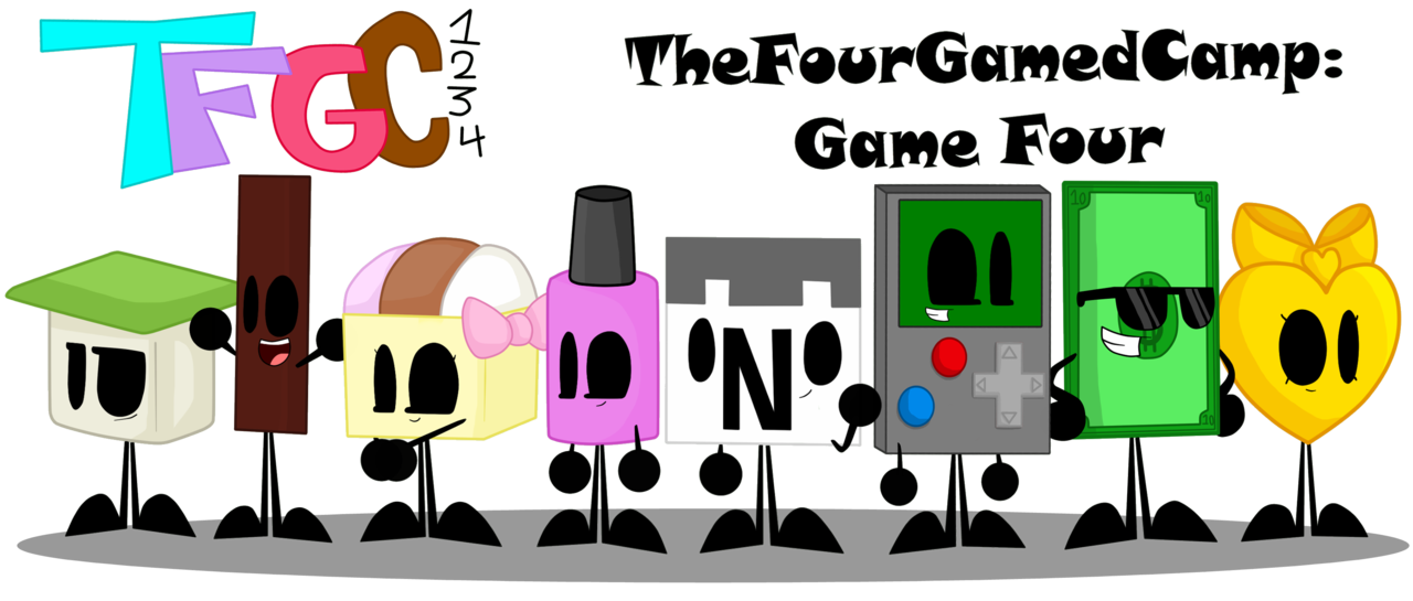 Games clipart camp game. Thefourgamedcamp all four contestants