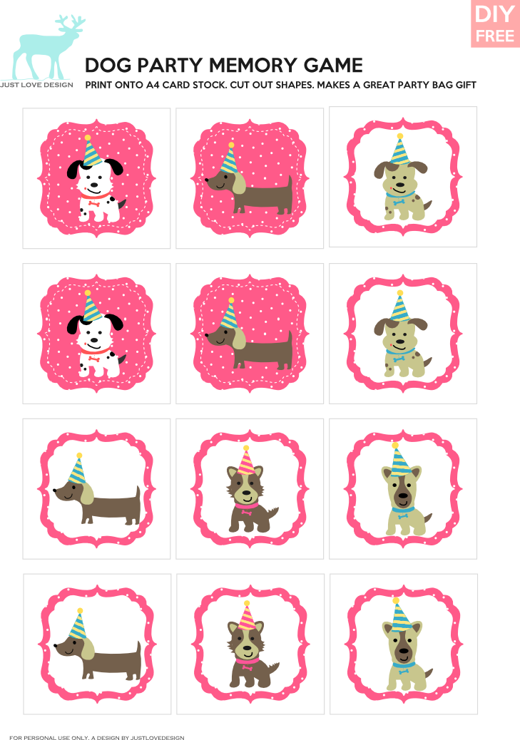 Games clipart memory game. Diy free doggy party