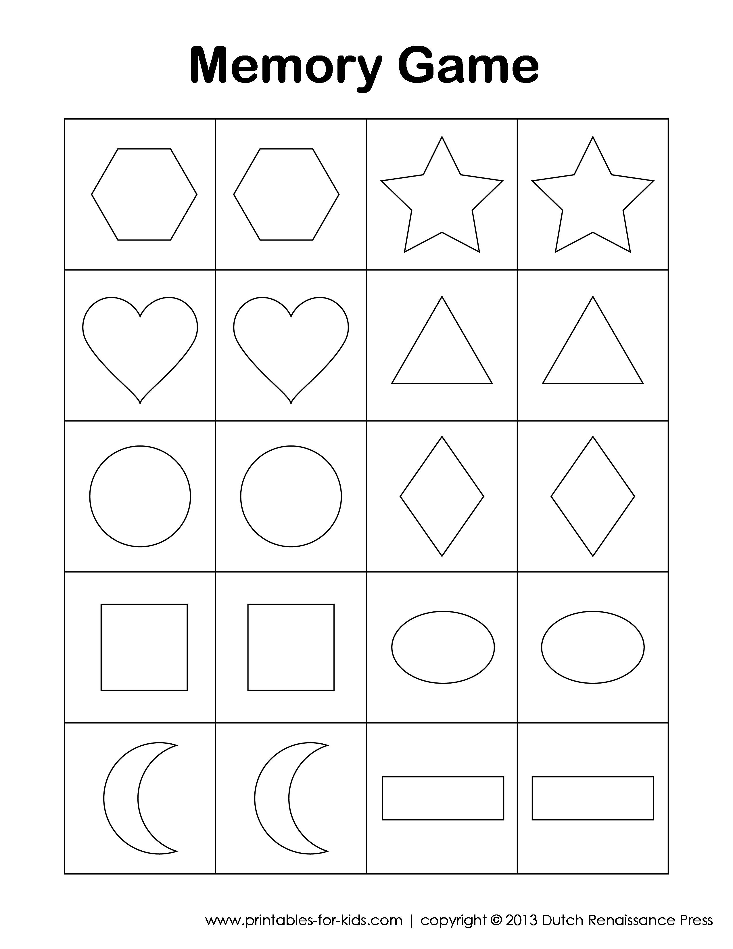 Games clipart memory game. Preschool printable myscres free