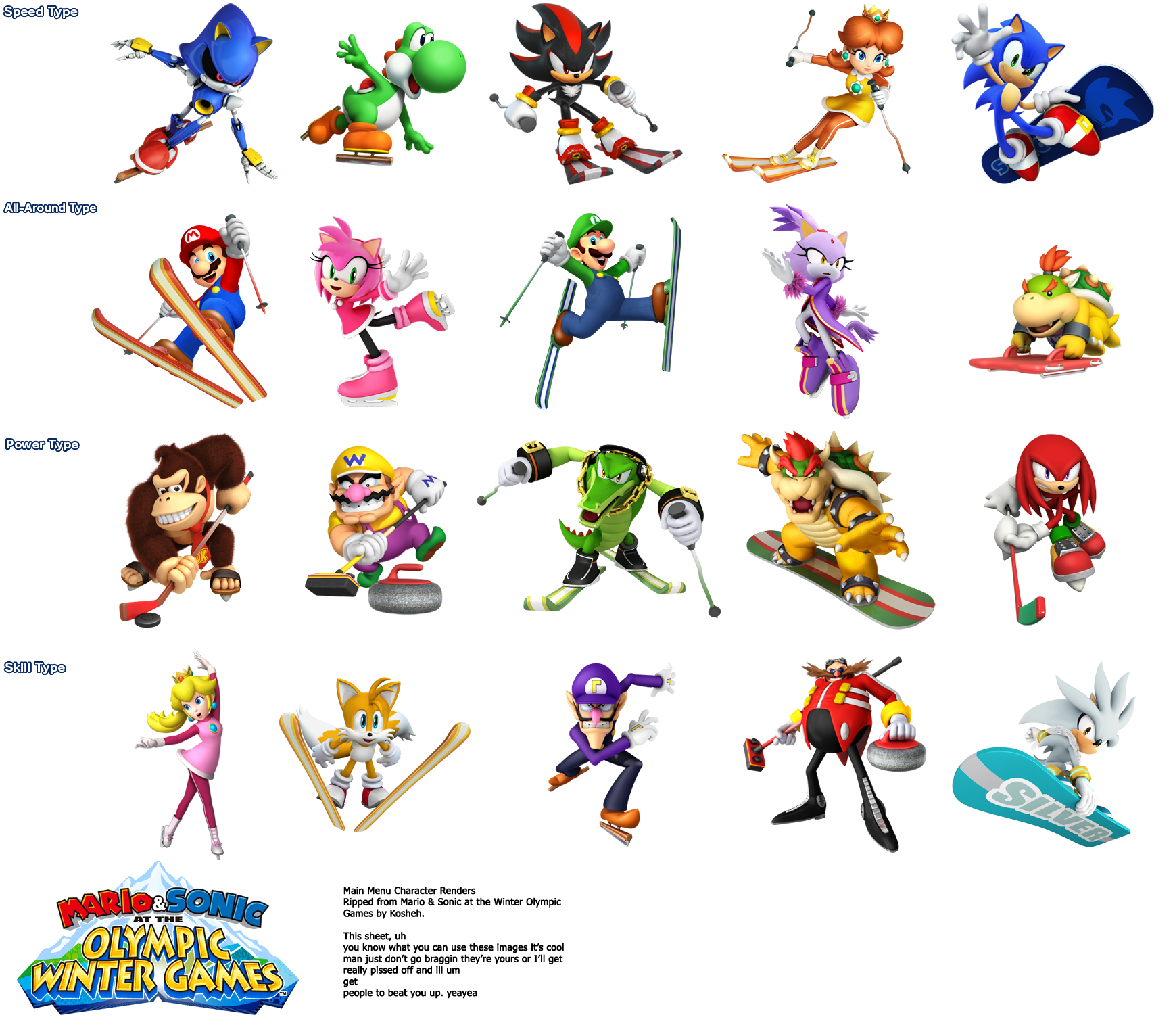 Wii mario and sonic. Winter clipart character