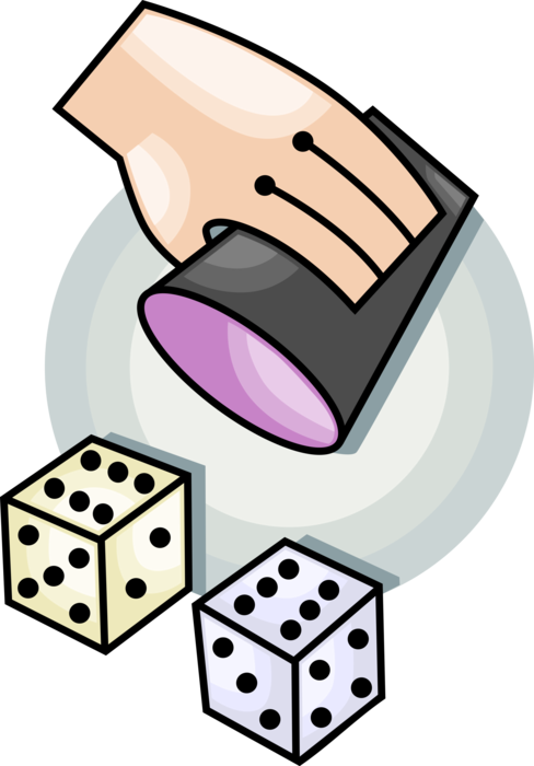 Casino gambler hand rolls. Gaming clipart roll dice