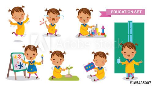 Games clipart student activity. Preschoolers of education set
