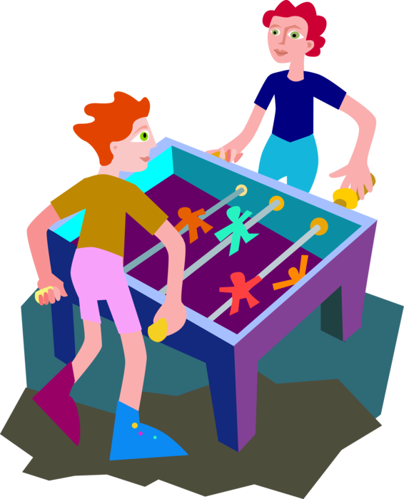 Foosball soccer football game. Games clipart table top