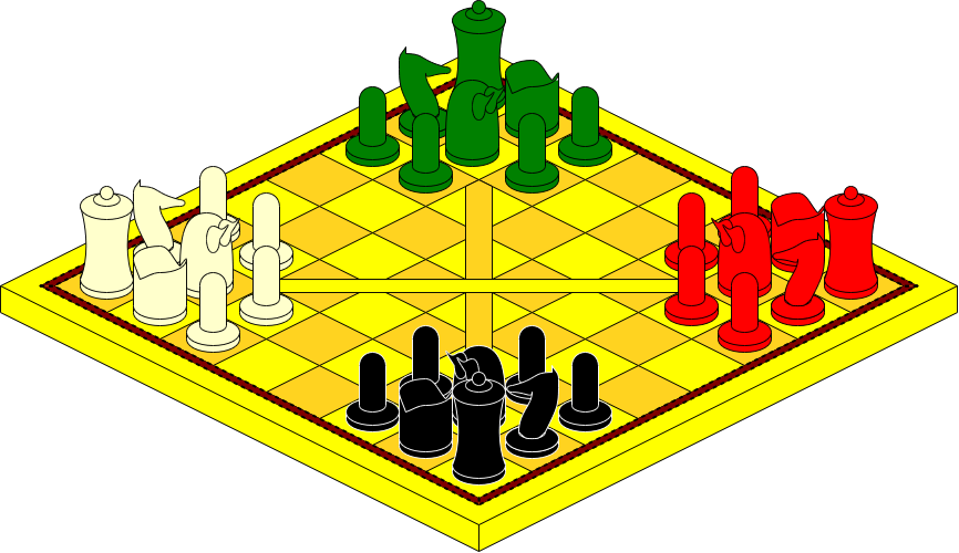 Four seasons chess board. Games clipart tabletop game