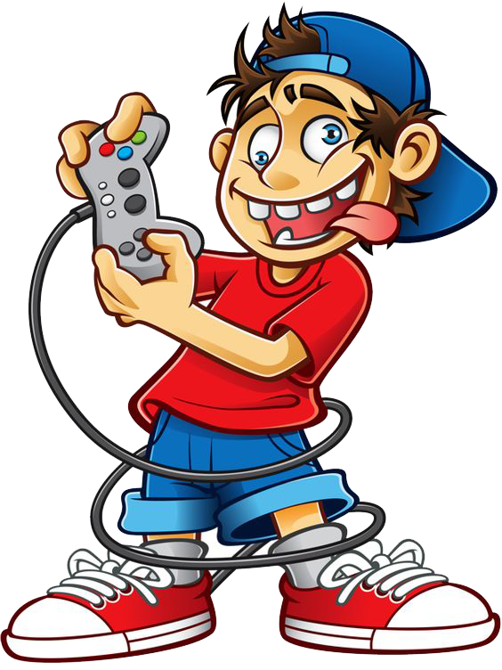 Gaming clipart cartoon kid. Video game play royalty