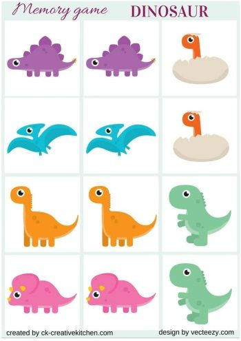 Gaming clipart memory game. Dinosaur free printables school
