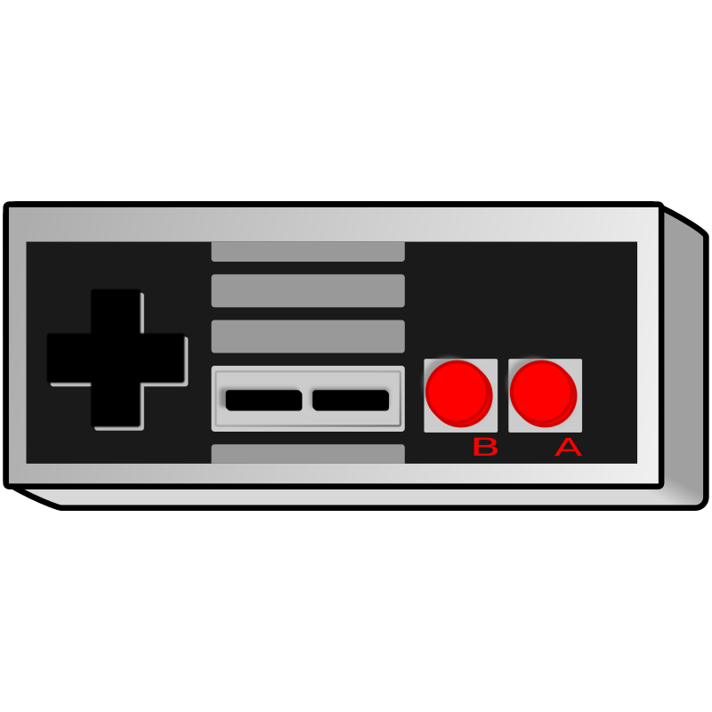 Old school game controller. Gaming clipart nes
