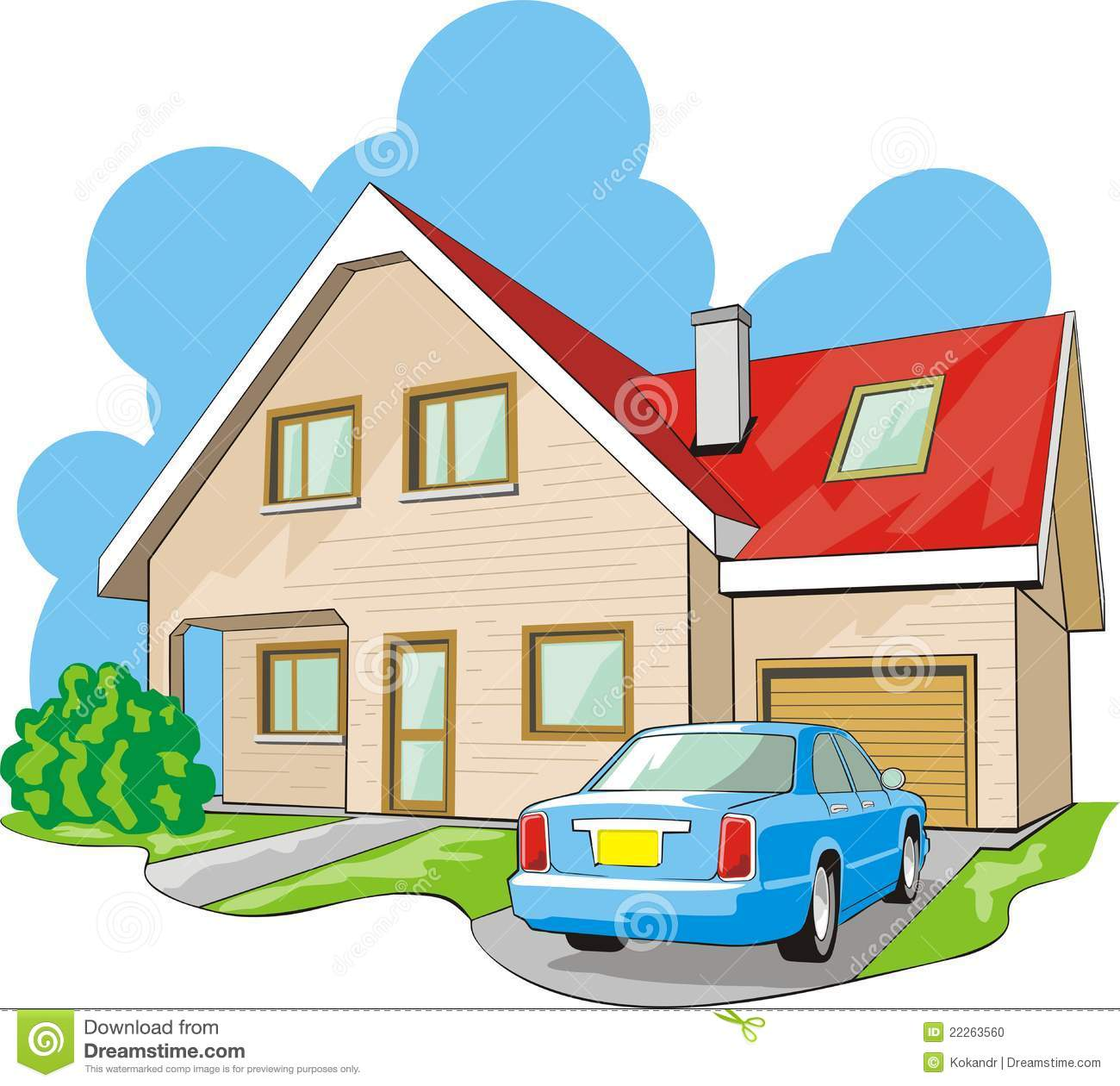 Garage clipart. House with