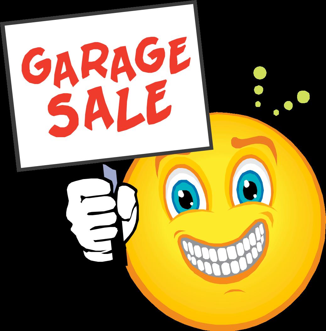 Village wide garage sale. Smiley clipart reminder