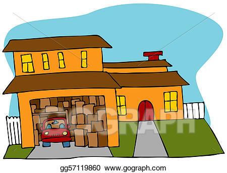 Garage clipart cluttered garage. Vector stock illustration