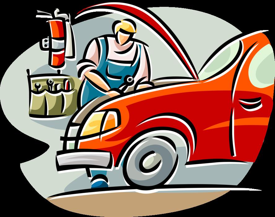 Mechanic clipart auto tech. Repairman works on car
