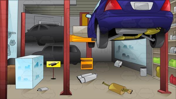 Inside a car repair. Garage clipart mechanic shop