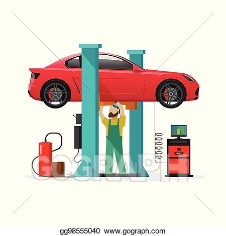 Garage clipart mechanic shop. Vector car repair station