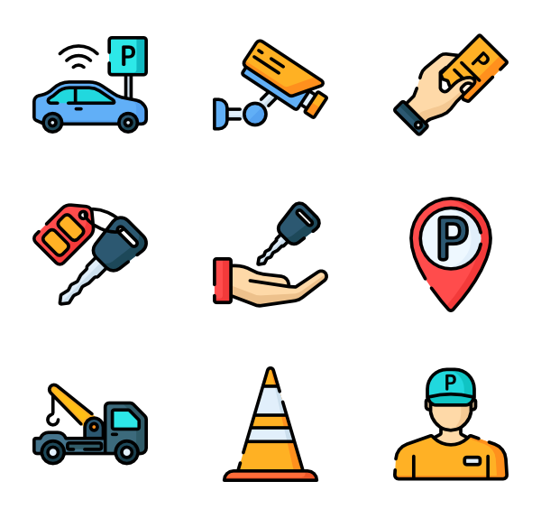 Parking lot clipart underground parking. Parked car icons free
