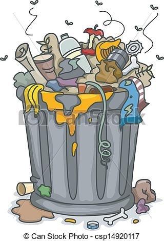 Home design trash illustrations. Garbage clipart
