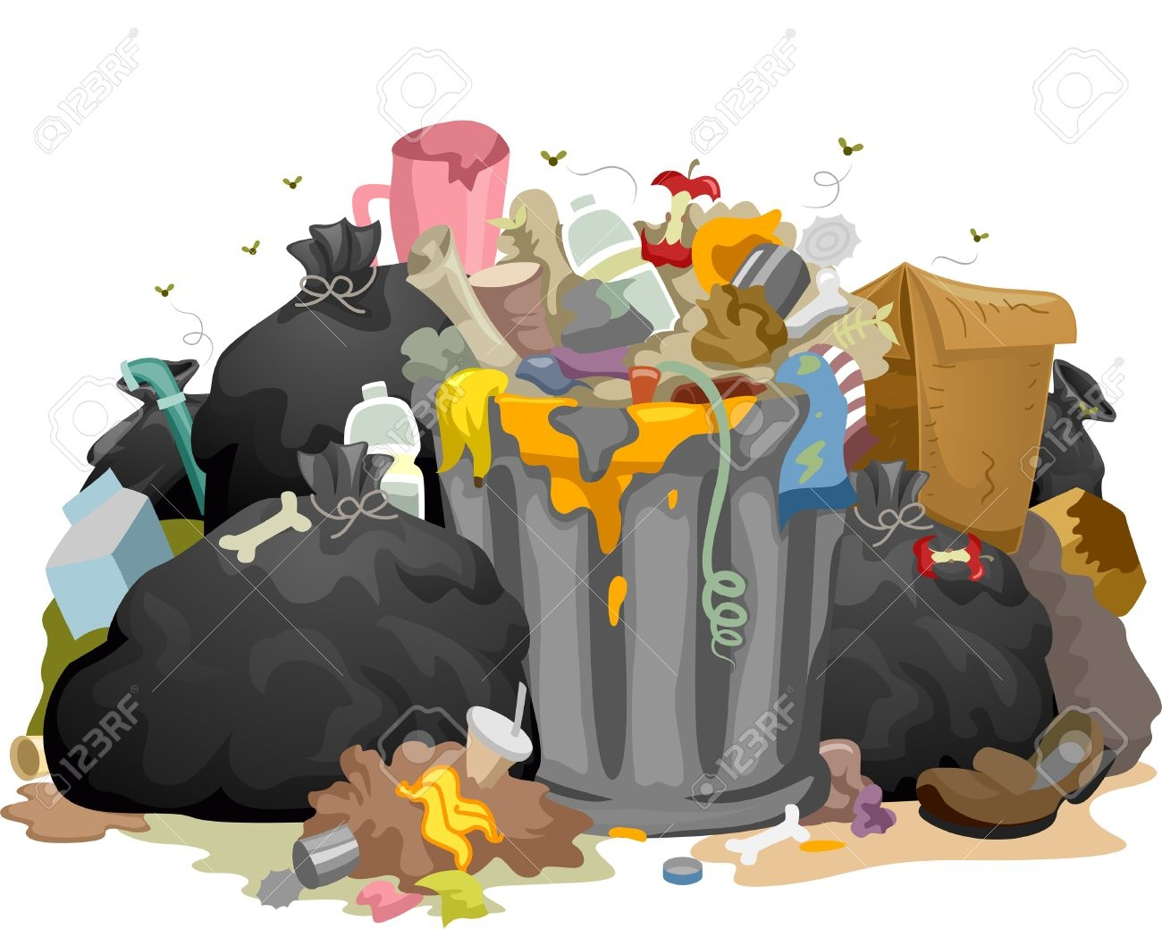Fresh design digital collection. Garbage clipart