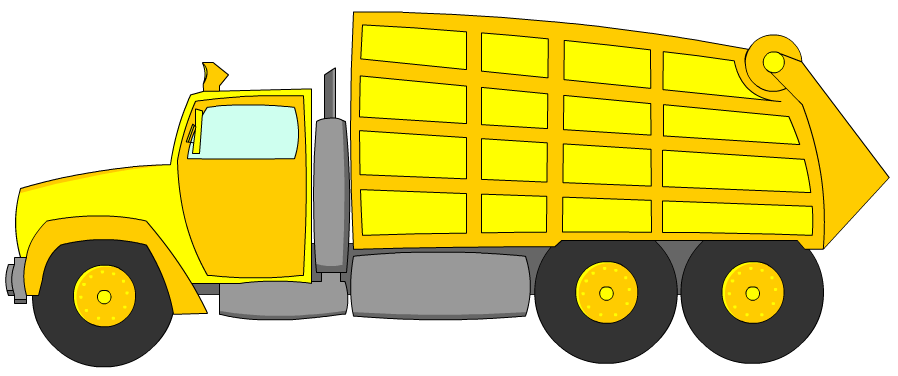 Truck yellow letters format. Garbage clipart bin lorry